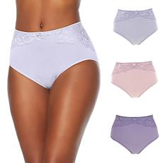 "Rhonda Shear ""Ahh"" Seamless Brief 3-pack with Lace Overlay"