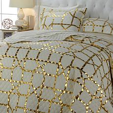 Richard Mishaan Metallic Geometric Print 3pc Quilt Set