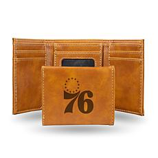 Rico 76Ers Laser-Engraved Brown Trifold Wallet