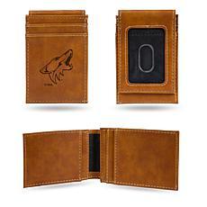 Rico Coyotes Laser-Engraved Brown Front Pocket Wallet