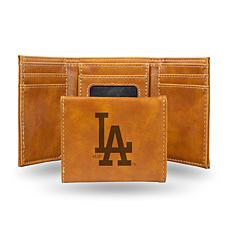 Rico Dodgers Laser-Engraved Brown Trifold Wallet
