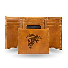 Rico Falcons Laser-Engraved Brown Trifold Wallet