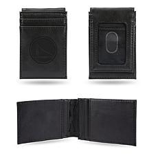 Rico Laser-Engraved Black Front Pocket Wallet - Warriors