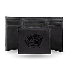 Rico Laser-Engraved Black Tri-fold Wallet - Blue Jackets