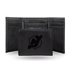 Rico Laser-Engraved Black Tri-fold Wallet - Devils