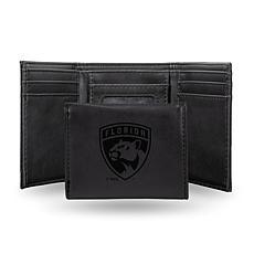 Rico Laser-Engraved Black Tri-fold Wallet - FL Panthers