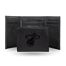Rico Laser-Engraved Black Tri-fold Wallet - Heat