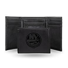 Rico Laser-Engraved Black Tri-fold Wallet - Islanders