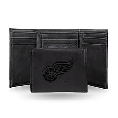 Rico Laser-Engraved Black Tri-fold Wallet - Red Wings