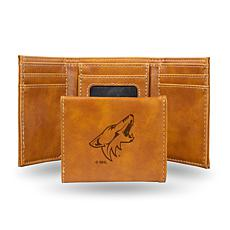 Rico Laser-Engraved Brown Tri-fold Wallet - Coyotes
