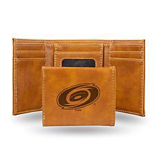 Rico Laser-Engraved Brown Tri-fold Wallet - Hurricanes