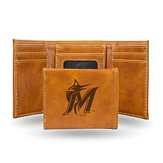 Rico Laser-Engraved Brown Tri-fold Wallet - Marlins