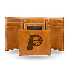 Rico Laser-Engraved Brown Tri-fold Wallet - Pacers