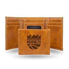 Rico Laser-Engraved Brown Tri-fold Wallet - Sacramento Kings