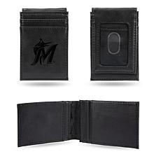 Rico Marlins Laser-Engraved Black Front Pocket Wallet