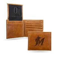 Rico Marlins Laser-Engraved Brown Trifold Wallet