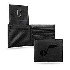 Rico NBA Laser-Engraved Black Billfold Wallet - Jazz