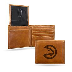 Rico NBA Laser-Engraved Brown Billfold Wallet - Hawks