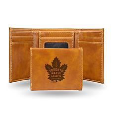 Rico NHL Laser-Engraved Brown Trifold Wallet - Maple Leafs