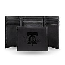 Rico Phillies Laser-Engraved Black Trifold Wallet