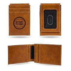 Rico Pistons Laser-Engraved Brown Front Pocket Wallet