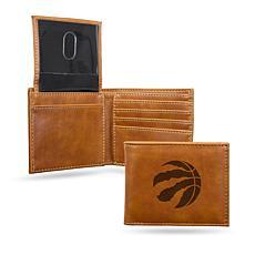 Rico Raptors Laser-Engraved Brown Trifold Wallet