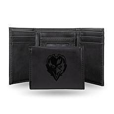 Rico Ravens Laser-Engraved Black Trifold Wallet