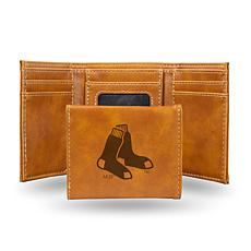 Rico Red Sox Laser-Engraved Brown Trifold Wallet
