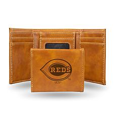 Rico Reds Laser-Engraved Brown Trifold Wallet