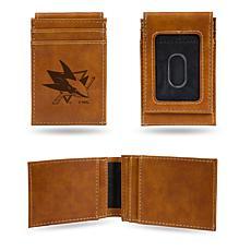 Rico Sharks Laser-Engraved Brown Front Pocket Wallet