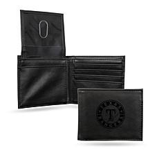 Rico Texas Rangers Laser-Engraved Black Billfold Wallet