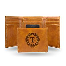 Rico Texas Rangers Laser-Engraved Brown Trifold Wallet