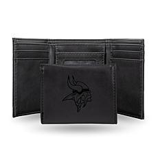 Rico Vikings Laser-Engraved Black Trifold Wallet