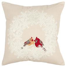 """Rizzy Home Cardinals 20"""" x 20"""" Holiday Decorative Throw Pillow"""