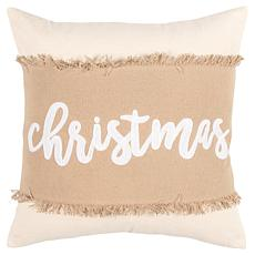 """Rizzy Home """"Christmas"""" 20"""" x 20"""" Holiday Decorative Throw Pillow"""