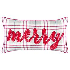 """Rizzy Home """"Merry"""" 14"""" x 26"""" Holiday Decorative Throw Pillow"""