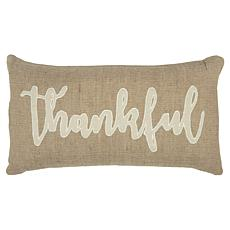 """Rizzy Home """"Thankful"""" 14"""" x 26"""" Decorative Throw Pillow"""