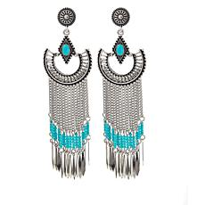 "R.J. Graziano ""Best West"" Turquoise-Color Stone Fringe Drop Earrings"