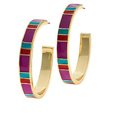 R.J. Graziano Colorblock Enamel Hoop Earrings