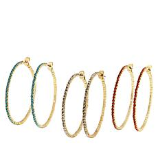 "R.J. Graziano ""Easy Glow"" 3-piece Crystal Hoop Earring Set"