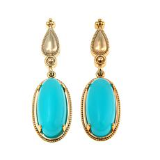 "R.J. Graziano ""Glow Show"" Oval Stone Goldtone Drop Earrings"