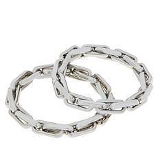 """R.J. Graziano """"Lux Life"""" 2-piece Chain-Link Stretch Bracelet Set"""