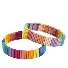 R.J. Graziano Metal Colorblock 2-piece Stretch Bracelet Set