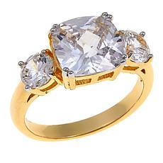 "R.J. Graziano ""Royal Touch"" CZ Goldtone Cushion and Round 3-Stone Ring"