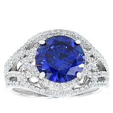 "Robert Manse ""CZ RoManse"" Clear and Tanzanite-Color CZ Statement Ring"