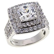 "Robert Manse ""CZ RoManse"" Cubic Zirconia Cushion-Cut Double Halo Ring"