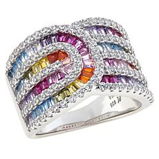 "Robert Manse ""CZ RoManse"" Sterling Silver Multi-Color Baguette Ring"