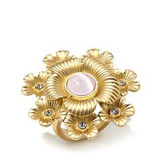 Roberto by RFM Pink Simulated Cat's Eye Floral Ring
