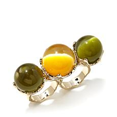 Roberto by RFM Simulated Cat's Eye 2-Stone 2-Finger Rin