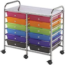 Rolling Double 12-Drawer Storage Cart - Multi-Color